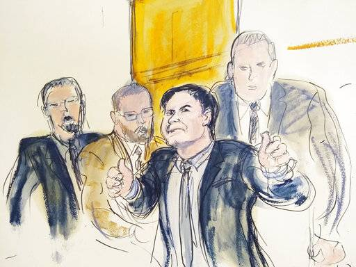 "In this courtroom drawing, Joaquin ""El Chapo"" Guzman, second from right, accompanied by US Marshalls, gestures a ""thumbs up"" to his wife, Emma Coronel Aispuro, as he leaves the courtroom, Tuesday, Feb. 12, 2019, in New York. The notorious Mexican drug lord was convicted of drug-trafficking charges, Tuesday, Feb. 12 2019, in federal court in New York. Elizabeth Williams via AP)"