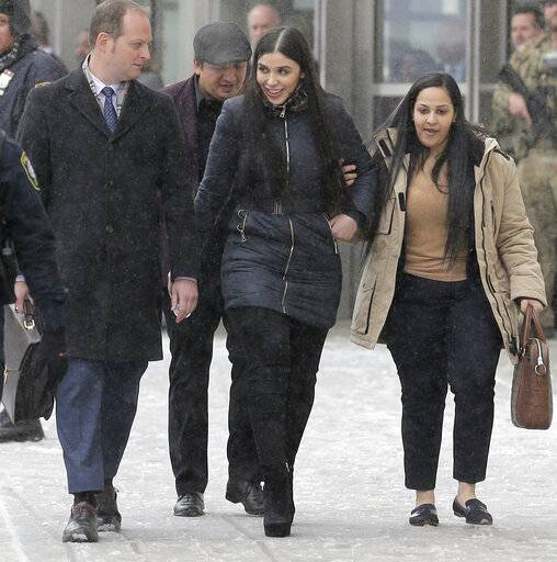 "Emma Coronel Aispuro, center, wife of Joaquin ""El Chapo"" Guzman, leaves federal court in New York, Tuesday, Feb. 12, 2019. On Tuesday, Mexico's most notorious drug lord was convicted of running an industrial-scale smuggling operation after a three-month trial packed with Hollywood-style tales of grisly killings, political payoffs, cocaine hidden in jalapeno cans, jewel-encrusted guns and a naked escape with his mistress through a tunnel."