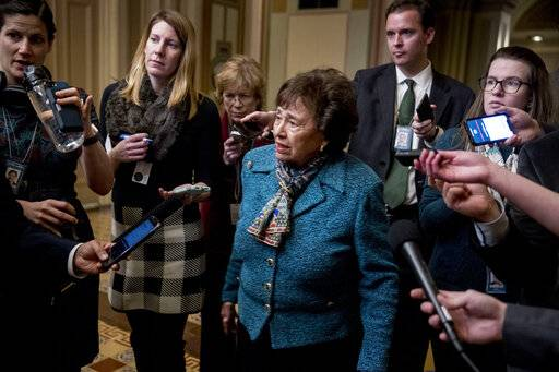 House Appropriations Committee Chair Nita Lowey, D-N.Y., speaks to reporters as she arrives for a closed-door meeting at the Capitol as bipartisan House and Senate bargainers trying to negotiate a border security compromise in hope of avoiding another government shutdown on Capitol Hill, Monday, Feb. 11, 2019, in Washington.