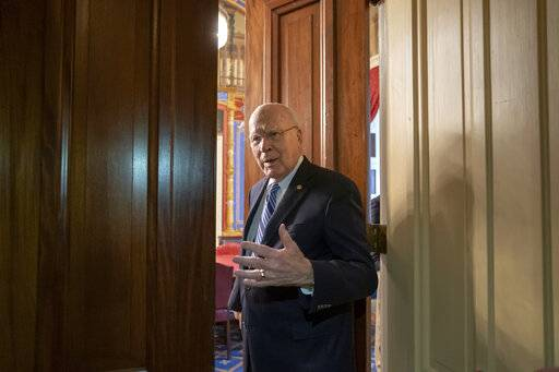 Sen. Patrick Leahy, D-Vt., the ranking member of the Senate Appropriations Committee, enters a closed meeting room at the Capitol as bipartisan House and Senate bargainers trying to negotiate a border security compromise in hope of avoiding another government shutdown, in in Washington, Monday, Feb. 11, 2019.