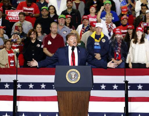 President Donald Trump speaks during a rally in El Paso, Texas, Monday, Feb. 11, 2019.
