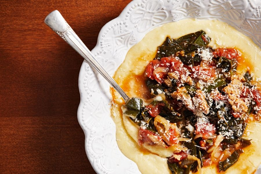 Braised Collard Greens With Chicken Sausage Over Polenta.