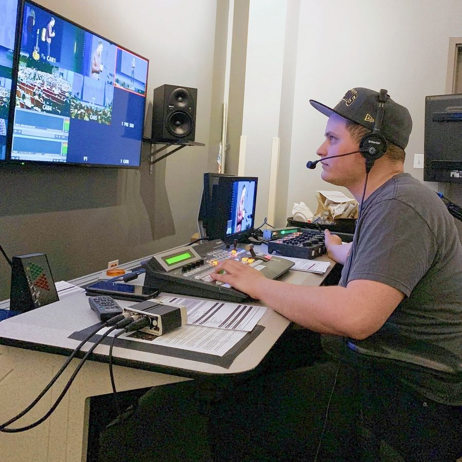 Courtesy of Tyler NewmanTyler Newman, 22, of Palatine, helped direct the recording of a Harvest Bible Chapel service last weekend. Though saddened by the firing of founding pastor James MacDonald, he said he believes it's the right decision for the church.