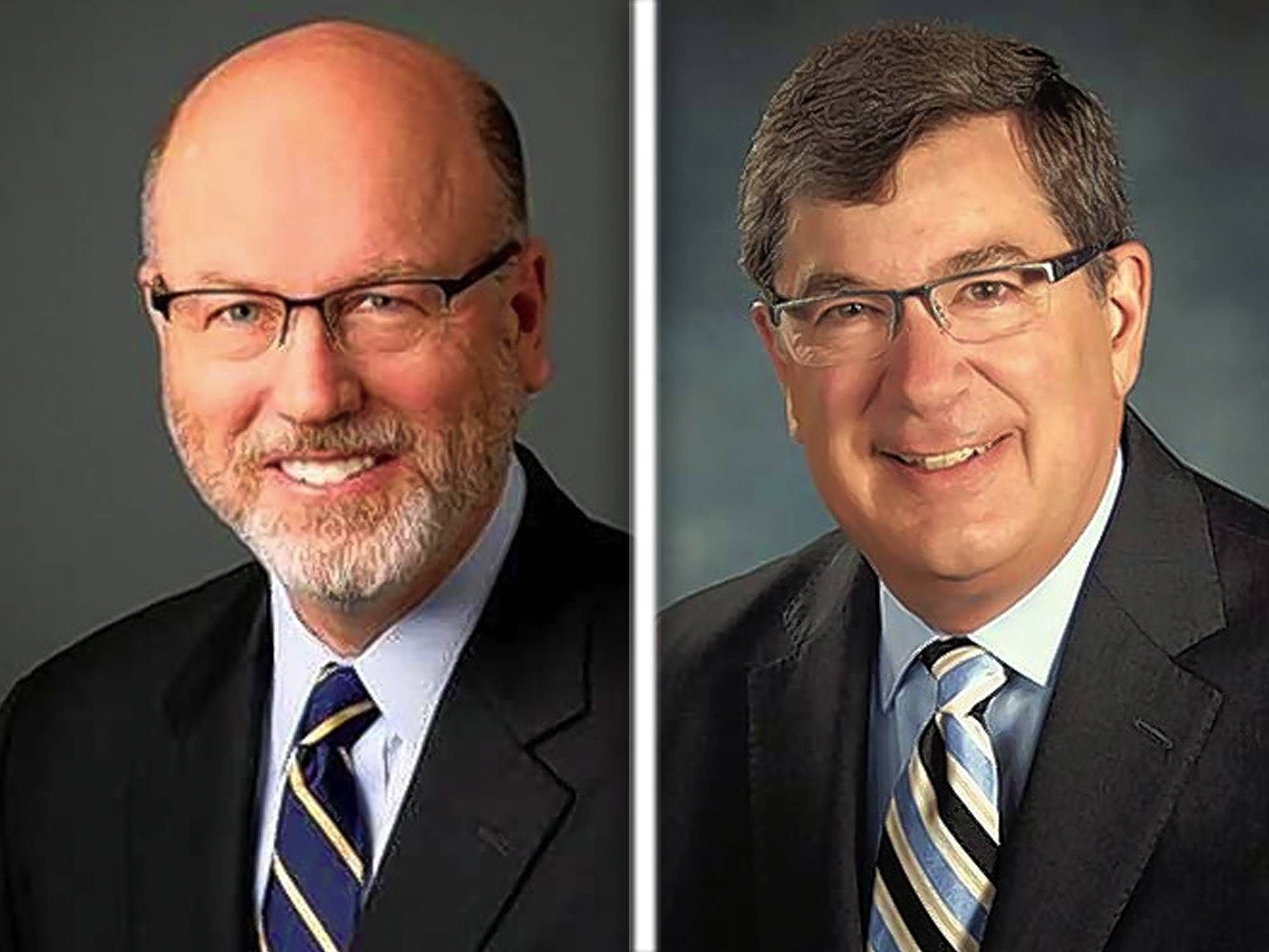 John Prendiville, left, and Phil Suess are candidates for mayor in Wheaton.