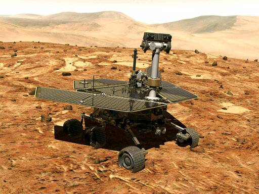 The rover Opportunity on the surface of Mars. The exploratory vehicle landed on Jan. 24, 2004, and logged more than 28 miles before falling silent during a global dust storm in June 2018. There was so much dust in the Martian atmosphere that sunlight could not reach Opportunity's solar panels for power generation.