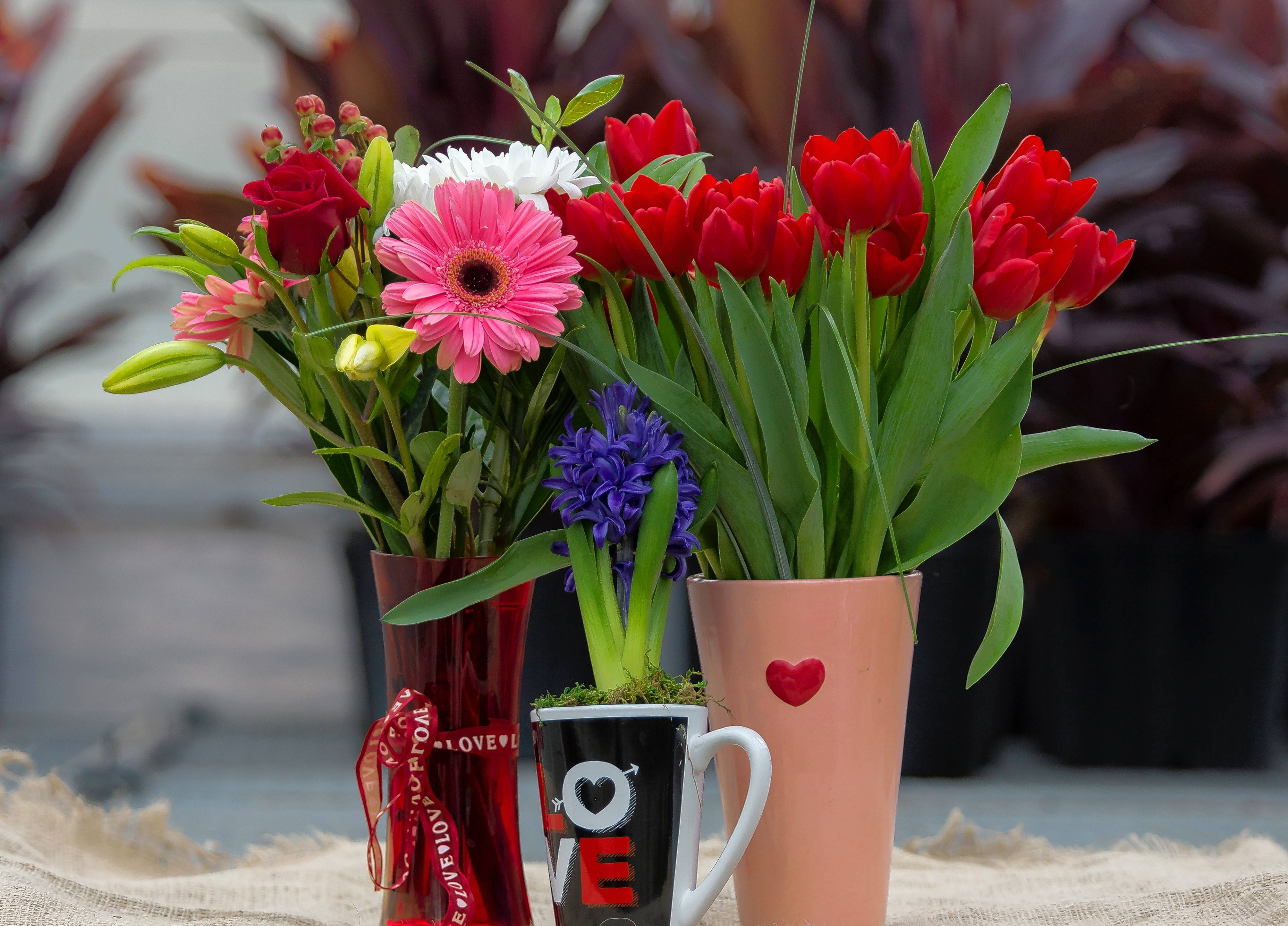 To keep Valentine's Day cut flowers fresh, protect them from freezing temperatures in transit and place them in room-temperature water as soon as possible.