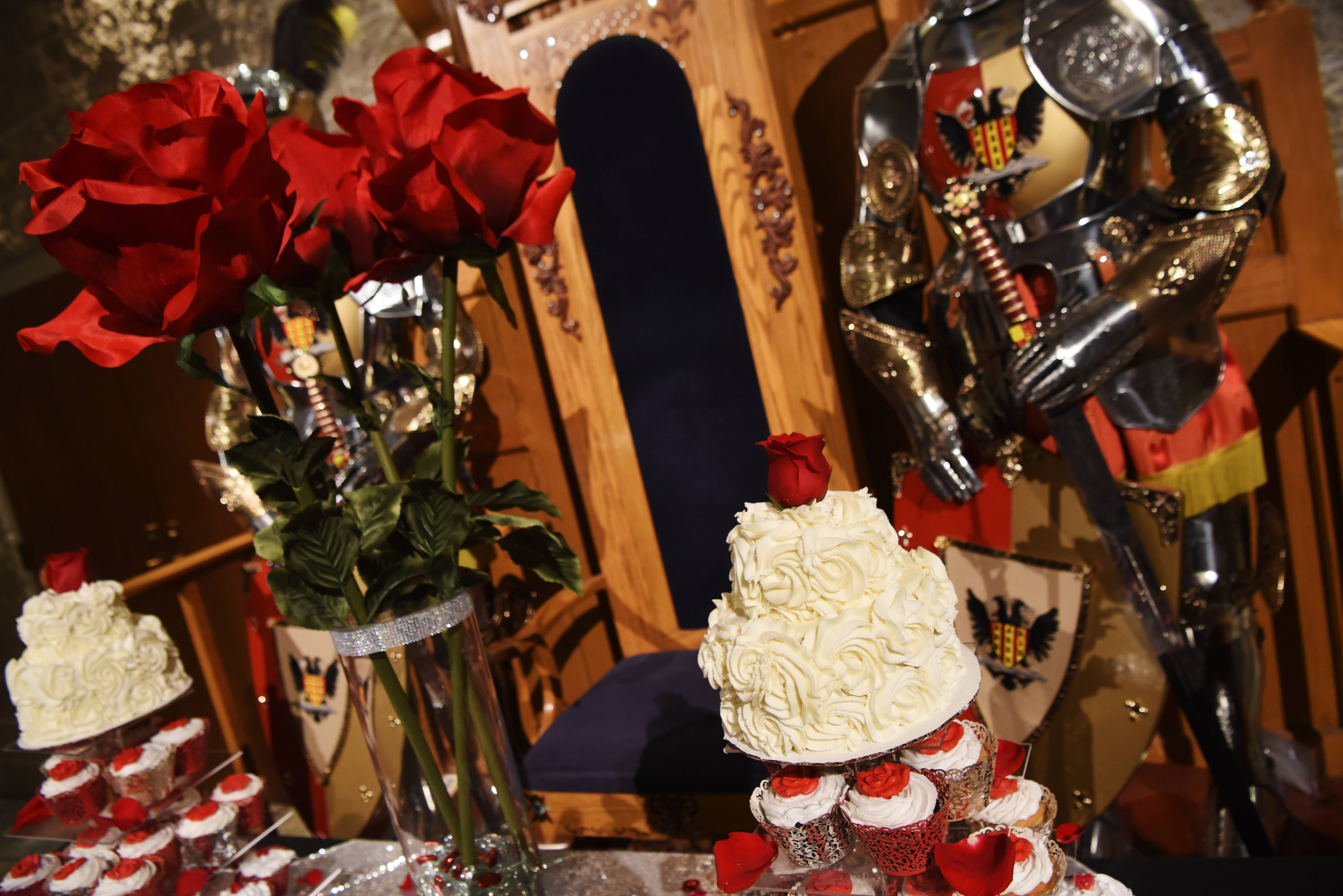 Cake is ready to be served during the reception for 45 couples who renewed their wedding vows Thursday during a Valentine's Day ceremony at Medieval Times Castle in Schaumburg.