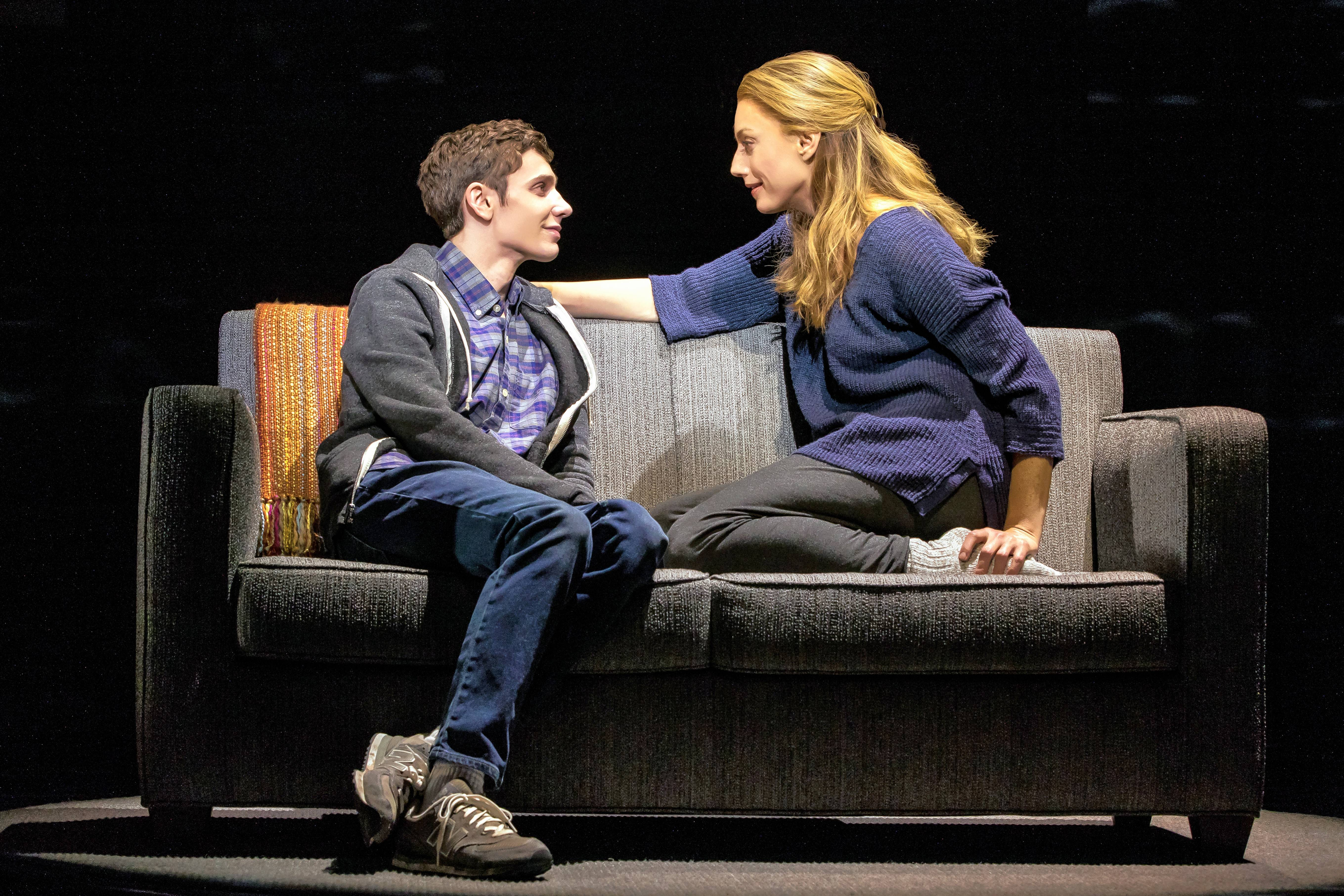 "Heidi Hansen (Jessica Phillips) assures her son, Evan (Ben Levi Ross), that she will remain by his side no matter what in the musical ""Dear Evan Hansen."""