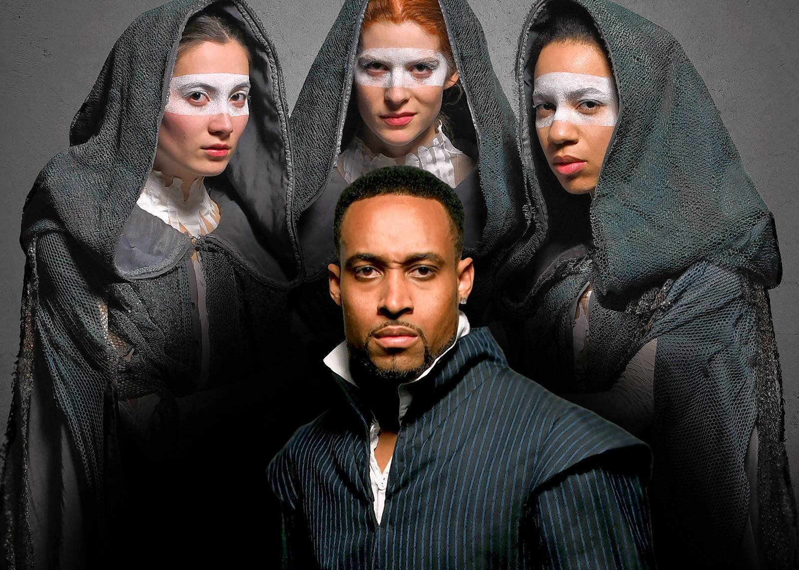 "Amir Abdullah, center, plays Macbeth in Chicago Shakespeare Theater's ""Short Shakespeare! Macbeth."" Caroline Chu, left, Emma Ladji, and Caitlan Taylor play the mysterious Weyard Sisters in director and Libertyville native Marti Lyons' production."