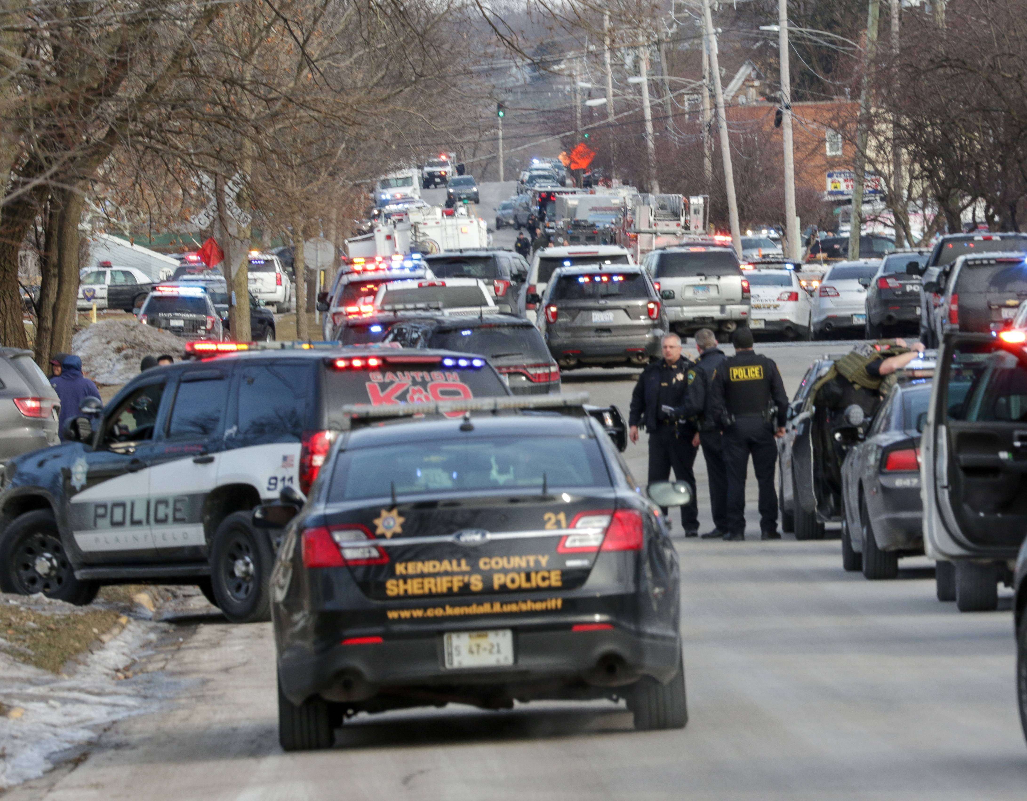 Five people were killed and five police officers and multiple civilians were wounded in an Aurora shooting Friday at the Henry Pratt Co. warehouse near Prairie and Highland avenues. The shooter also was killed.