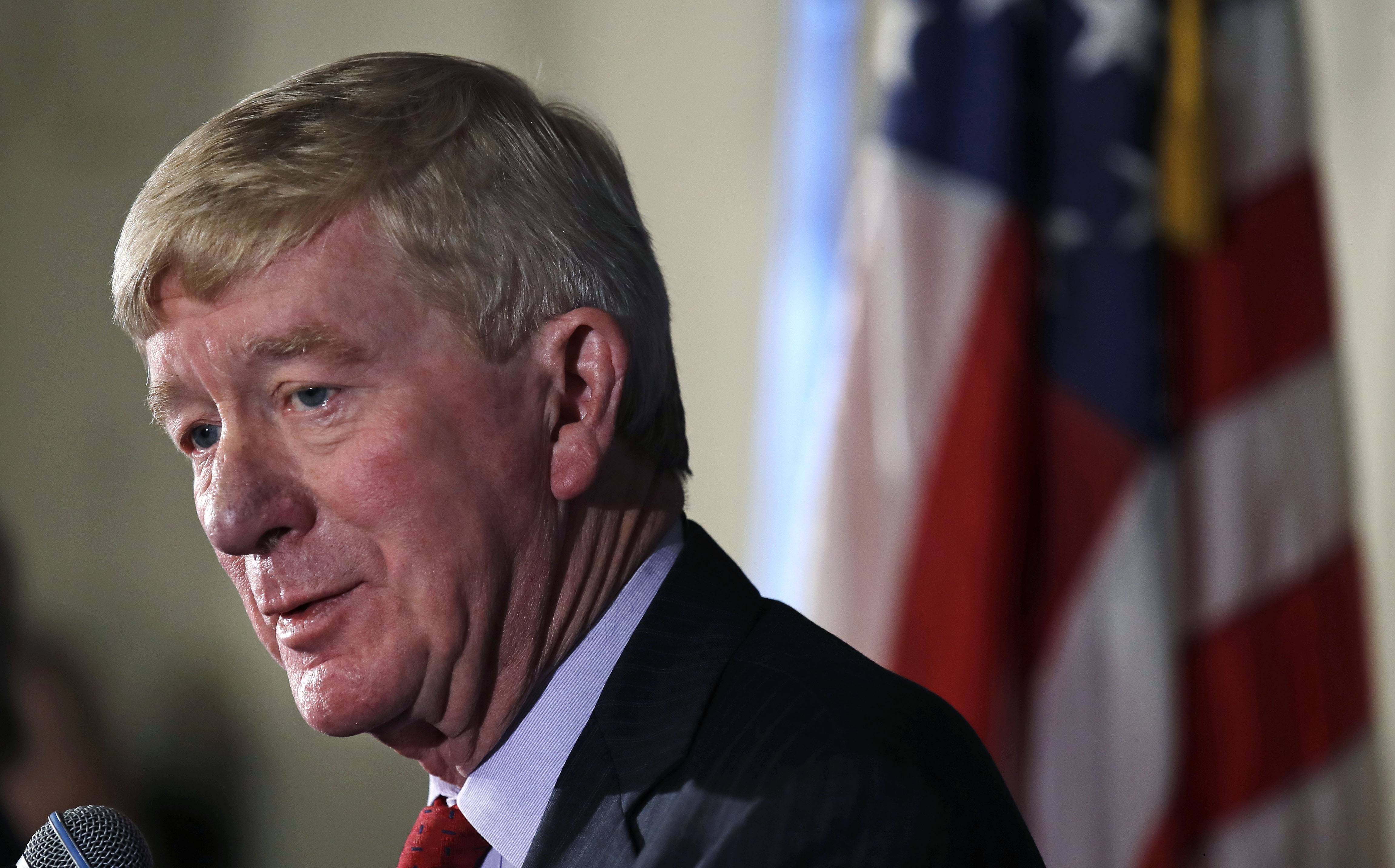 Former Massachusetts Gov. William Weld addresses a gathering Friday during a New England Council 'Politics & Eggs' breakfast in Bedford, New Hampshire. Weld announced he's creating a presidential exploratory committee for a run in the 2020 election. (AP Photo/Charles Krupa)