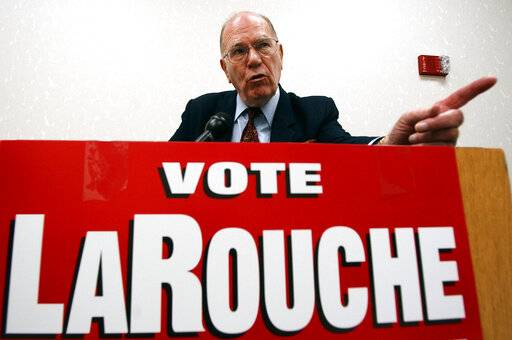 FILE - In this May 14, 2004, file photo, Democratic presidential hopeful Lyndon LaRouche Jr. campaigns in Montgomery, Ala. Fitting for a man who saw so much darkness in the world, LaRouche died on the fringes Tuesday, Feb. 12, 2019, his name little known to anyone under 50, his death rumored online a day before mainstream outlets confirmed it. His influence, however, will surely outlast him. (AP Photo/Dave Martin, File)