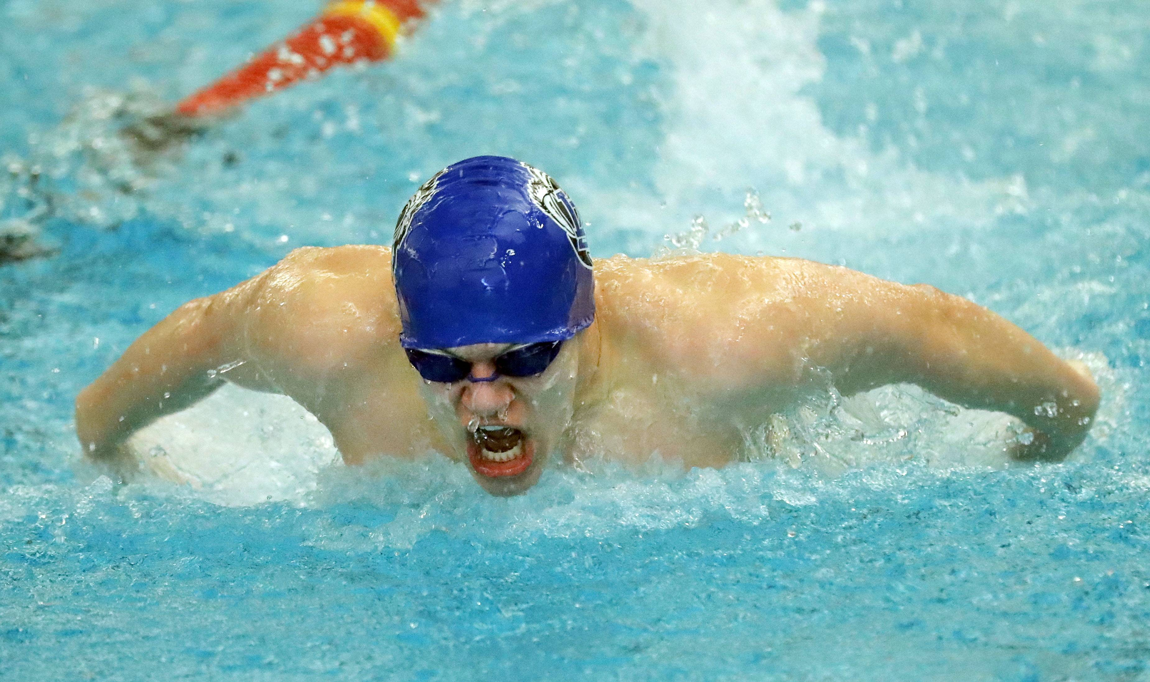 Lake Zurich's Travis Hull swims in the 200-yard individual medley during boys sectional swimming at Barrington High School Saturday.