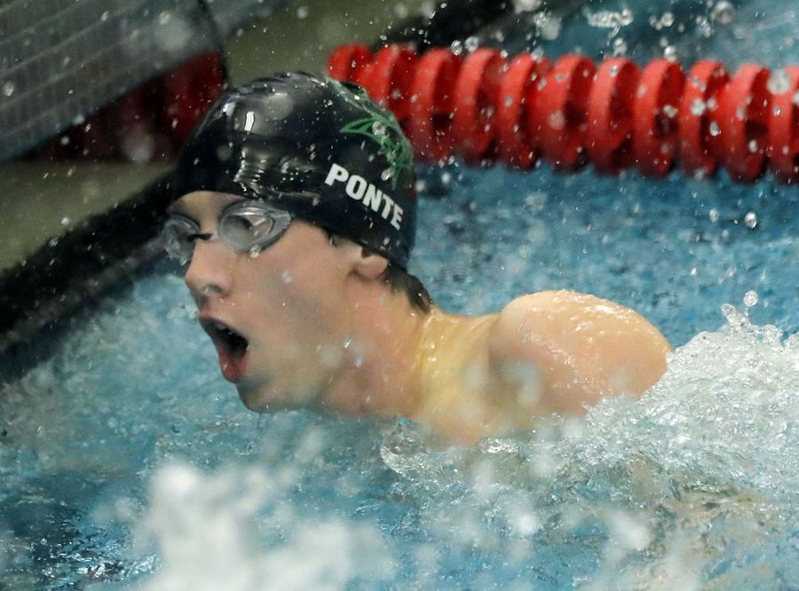 Fremd's John Ponte reacts after swimming in the 100-yard freestyle during boys sectional swimming at Barrington High School Saturday.