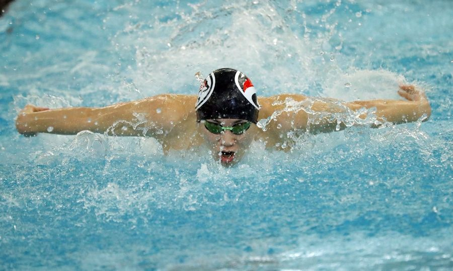 Conant's Justin Lin swims in the 200-yard medley relay during boys sectional swimming at Barrington High School Saturday.
