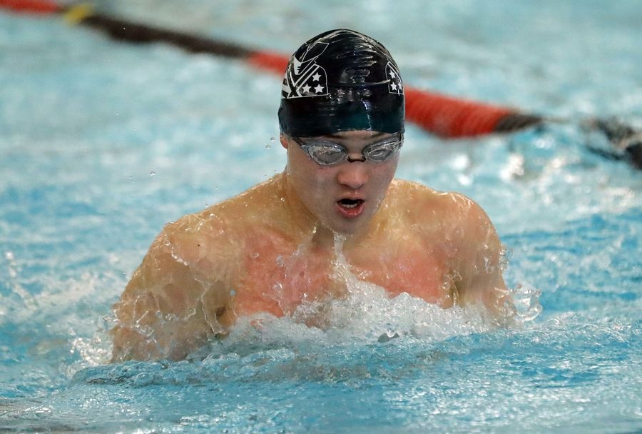Stevenson's Joseph Song swims in the 200-yard medley relay during boys sectional swimming at Barrington High School Saturday.