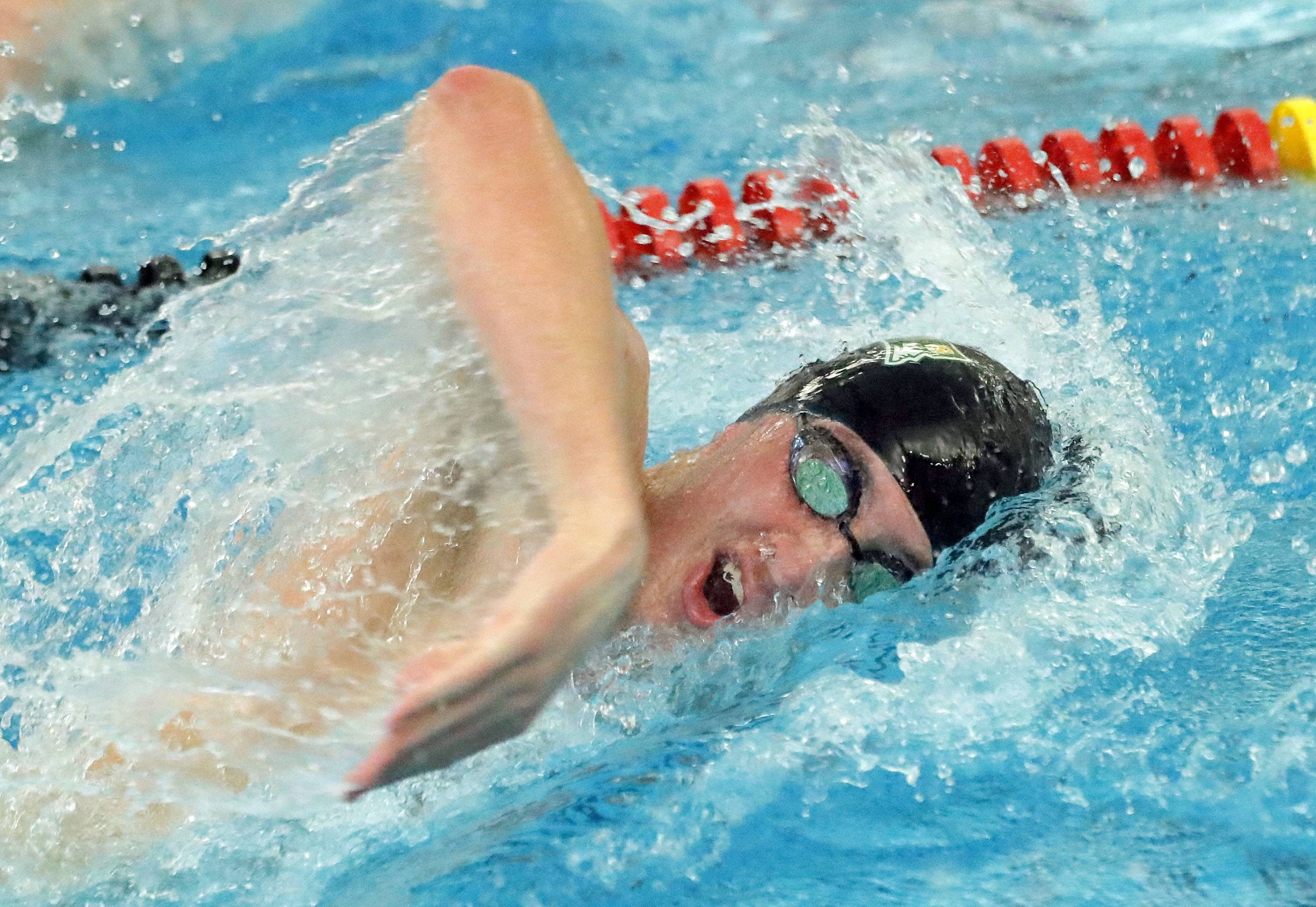 Stevenson's Nathan Gates swims in the 200-yard freestyle during boys sectional swimming at Barrington High School Saturday.