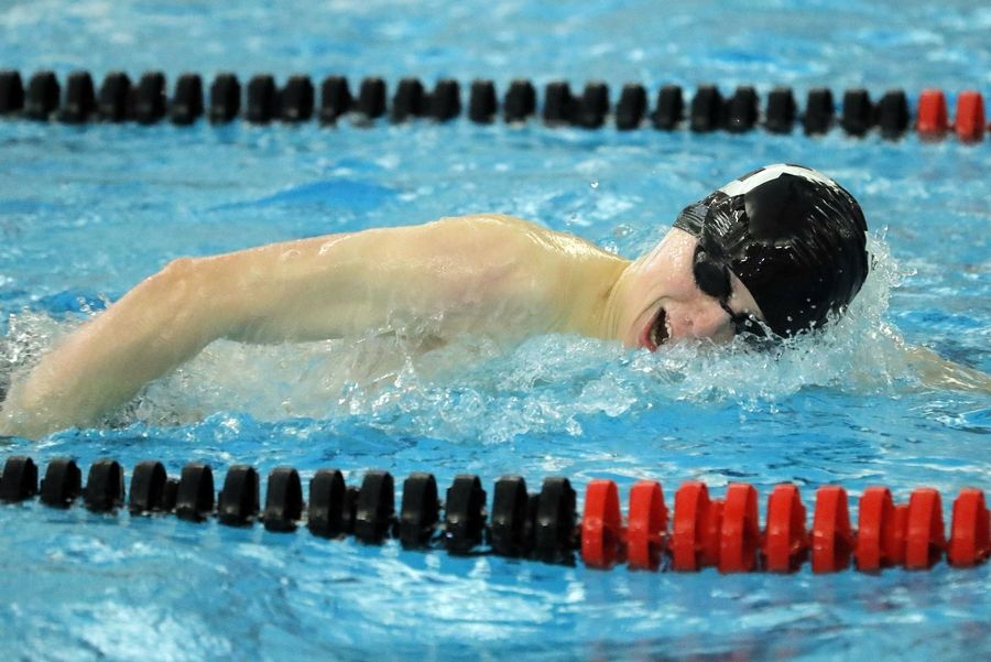 Barrington's Jack Hoppe swims in the 200-yard freestyle during boys sectional swimming at Barrington High School Saturday.