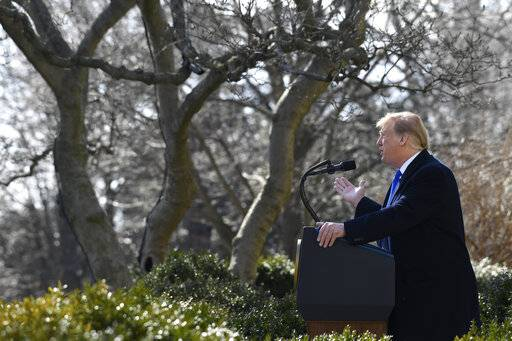 President Donald Trump speaks during an event in the Rose Garden at the White House in Washington, Friday, Feb. 15, 2019, to declare a national emergency in order to build a wall along the southern border.