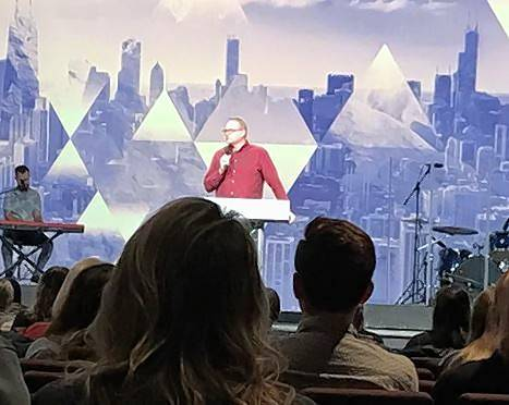 "Pastor Dave Learned speaks Sunday to members of Harvest Bible Chapel in Rolling Meadows about changes planned for the megachurch in the wake of its founder's removal last week. ""The message is more than the messenger,"" he said."