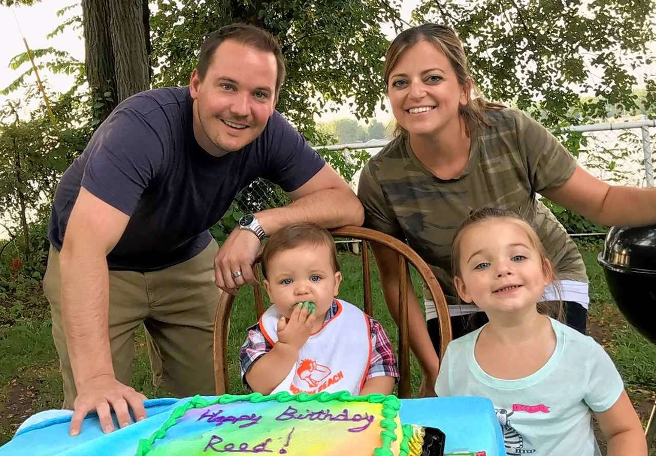 Dan Keller, now 35, of Woodridge, celebrates his son's birthday with his wife, Kate; 2-year-old son, Reed; and 4-year-old daughter, Madelyn. About a year ago, Keller was the patient in what became an award-winning ambulance run by Lisle-Woodridge Fire Protection District paramedics, who transported him quickly to Edward Hospital while he was having a stroke.