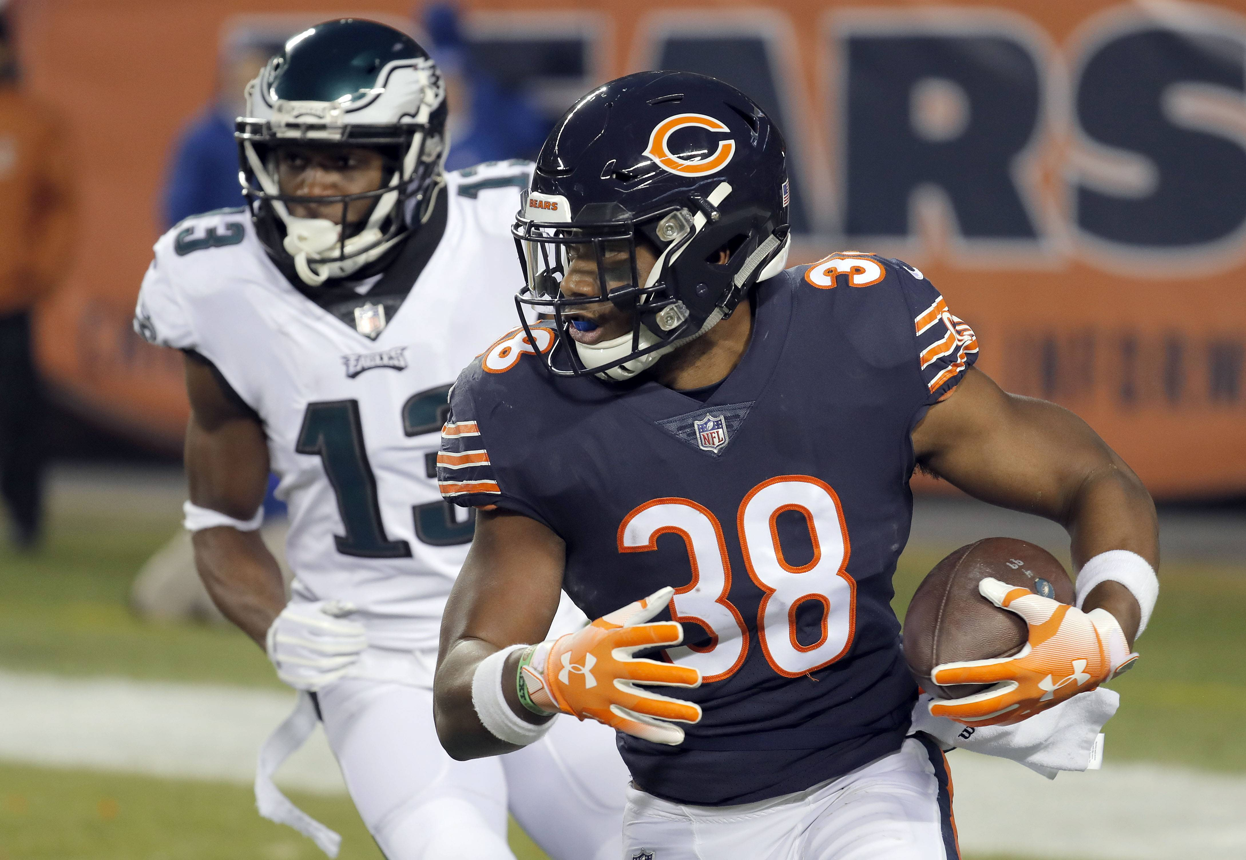 Letting both Bryce Callahan and Adrian Amos, pictured here intercepting the ball during this year's NFC wild-card game, go might be nice to get value-drafting GM Pace and Chicago back in compensatory pick game.