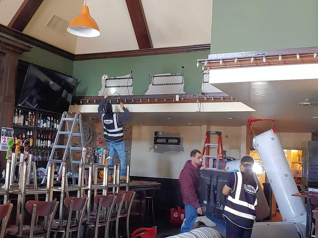 Work continues at Durty Nellie's in downtown Palatine in the wake of a fire in the kitchen last month that caused extensive smoke and water damage. The bar is getting help from two competitors in town so it can reopen while work continues.