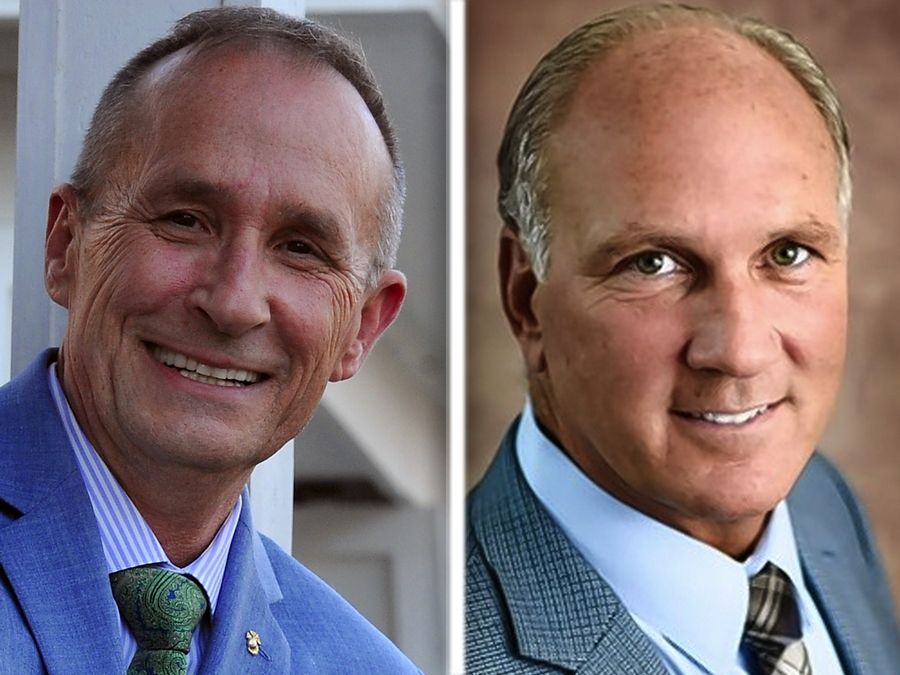 "Naperville mayoral candidates challenger Richard ""Rocky"" Caylor and incumbent Mayor Steve Chirico both have raised the possibility of a referendum to let voters decide whether the city should pay to repair structural issues at its iconic bell tower, or tear the structure down."