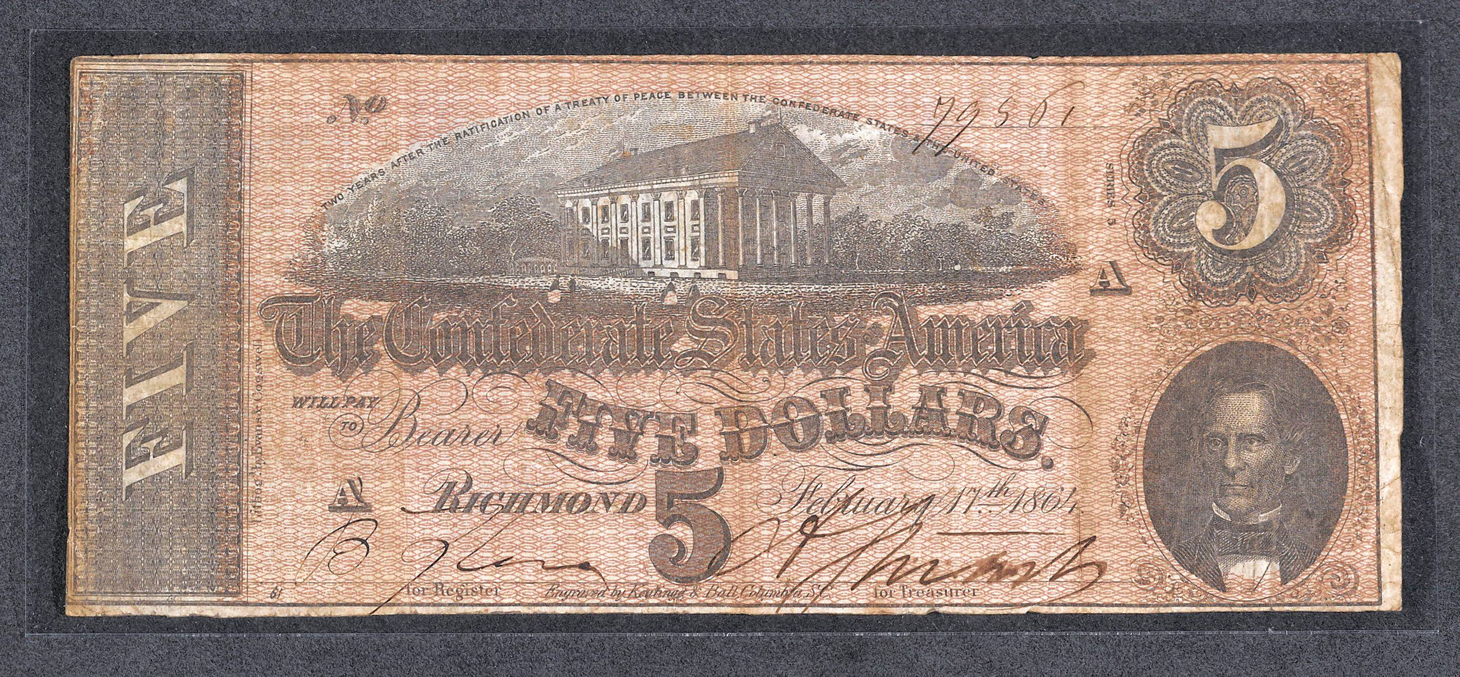 The only currency Abraham Lincoln was carrying in his wallet on the night he was shot was this Confederate $5 bill. He apparently picked up the bill, which was worthless after the South surrendered the Civil War, during a trip to Virginia earlier that month.