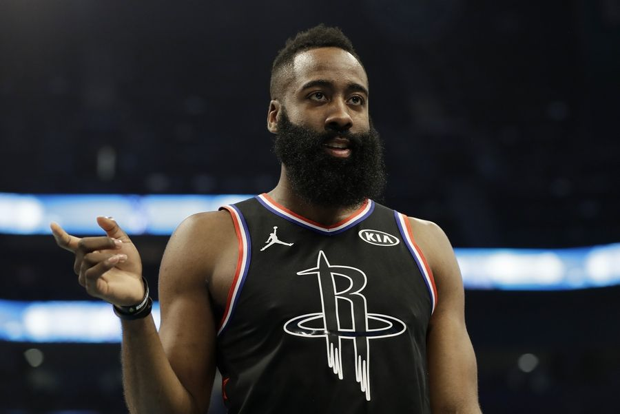 Team LeBron's James Harden, of the Houston Rockets, moves on the court against Team Giannis during the first half of an NBA All-Star basketball game, Sunday, Feb. 17, 2019, in Charlotte, N.C.