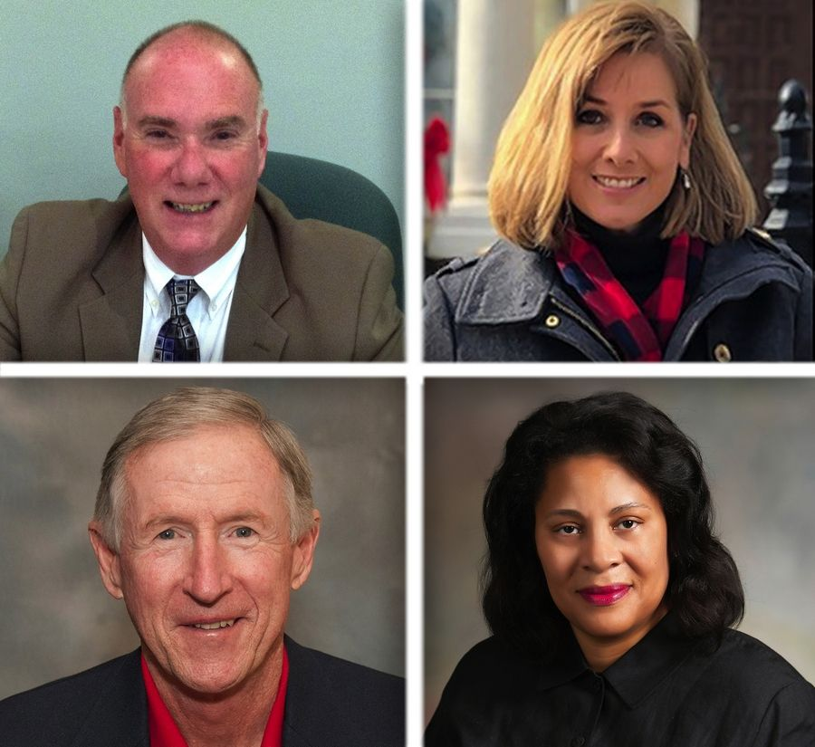 Upper from left, Scott Adams, Jeanine Chyna and lower from left, Peter Garrity and Donna Johnson are candidates for Libertyville village board in the 2019 election.