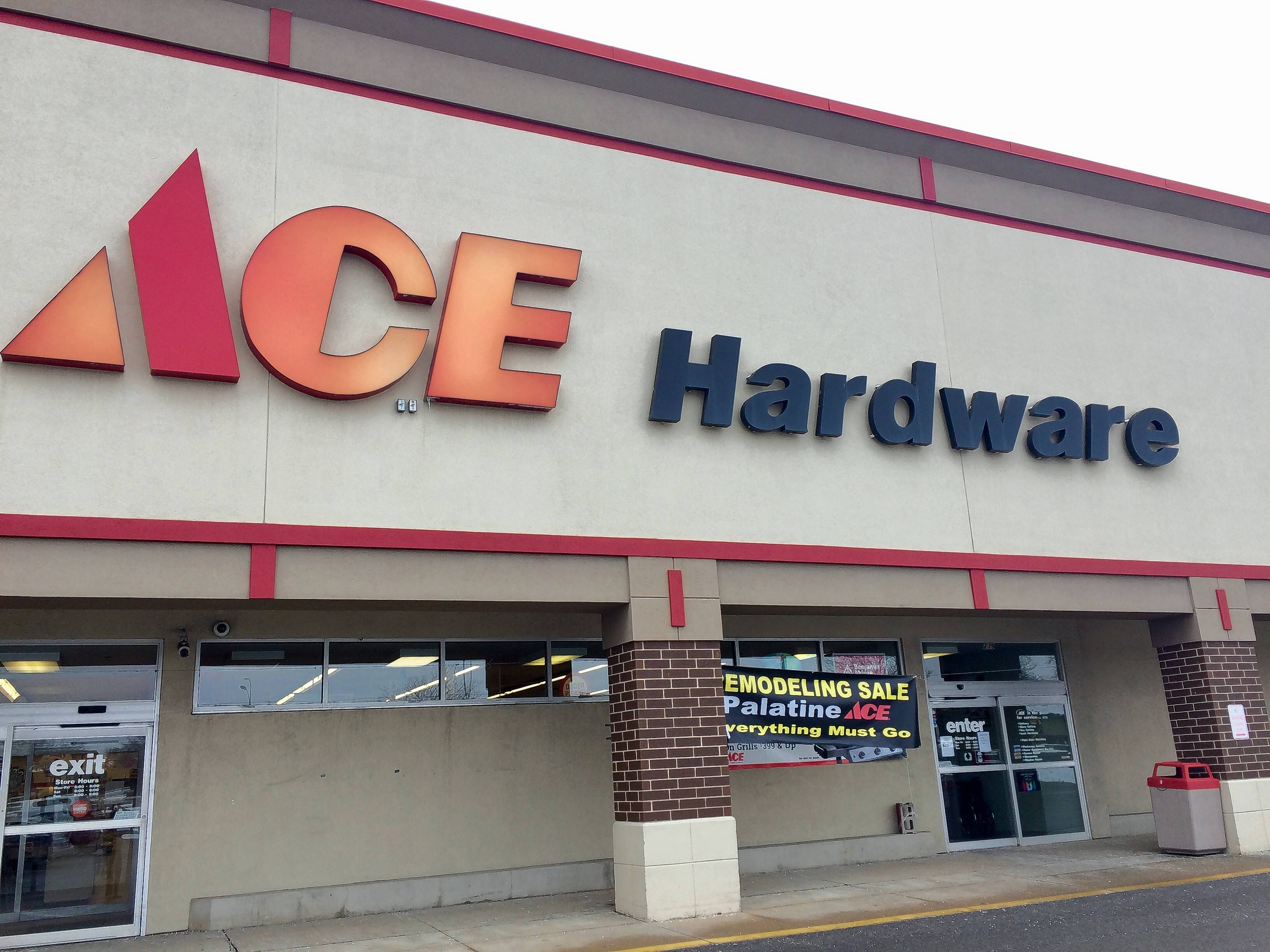 Another Ace Hardware plans to operate in this space at Palatine Plaza. The current Ace is going out of business and is liquidating its inventory. Officials from Highland Park-based Mutual Ace Hardware say they are acquiring the store and hope to have it fully stocked to reopen in early April.