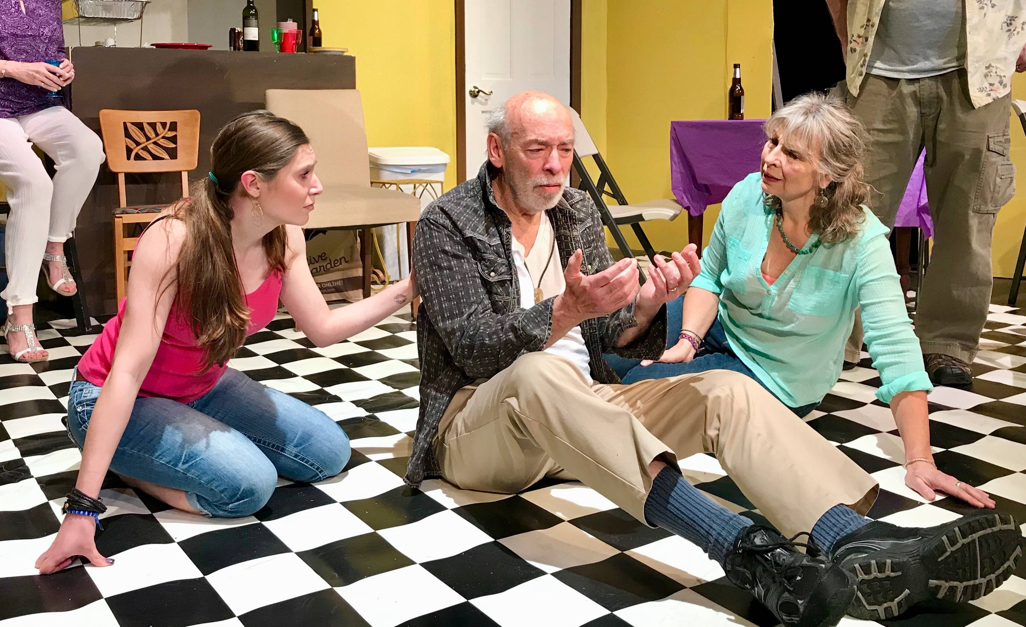 "Sara Monteleone, Bruce Worthel and Annie Slivinski rehearse a new play, ""Scatter the Pigeons,"" at Steel Beam Theatre in St. Charles."