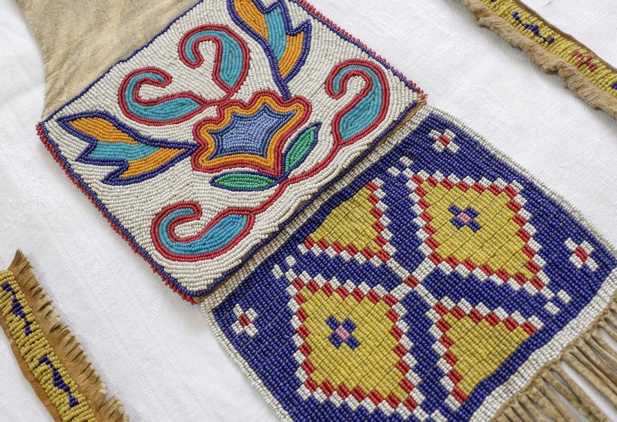 "A close-up of the bead work on a Native American pipe bag that David Dorgan of Elgin had appraised on the TV show ""Antiques Roadshow."""