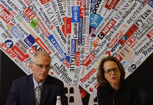 BishopAccountability.org group director Phil Saviano, left, and co-director Anne Barrett Doyle, attend a press conference at the foreign press association in Rome, Tuesday Feb. 19, 2019.