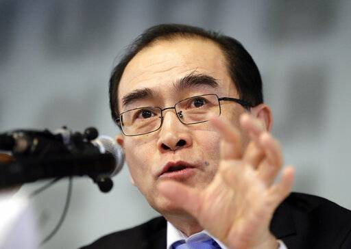 Thae Yong Ho, former North Korean diplomat, who defected to South Korea in 2016, speaks to the media in Seoul, South Korea, Tuesday, Feb. 19, 2019. Thae said North Korean leader Kim Jong Un has no intention of giving up his nuclear weapons and sees his upcoming second summit with U.S. President Donald Trump as a chance to cement his country's status as a nuclear weapons state. (AP Photo/Lee Jin-man)