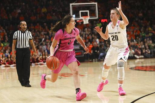 Oregon State's Aleah Goodman (1) looks for a way past Oregon's Sabrina Ionescu (20) during the first half of an NCAA college basketball game in Corvallis, Ore., Monday, Feb. 18, 2019.