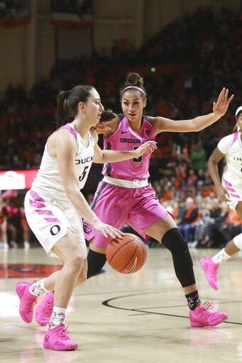 Oregon's Maite Cazorla, left, is guarded by Oregon State's Taya Corosdale, right, during the first half of an NCAA college basketball game in Corvallis, Ore., Monday, Feb. 18, 2019.
