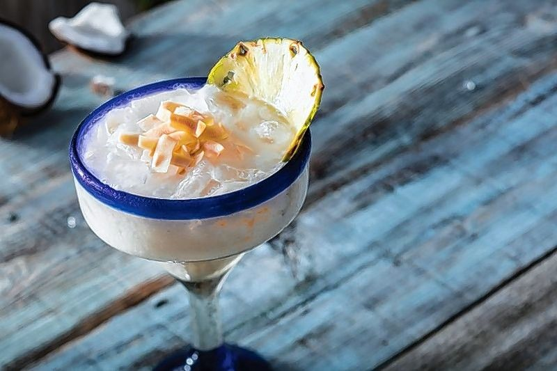 Think of someplace warm when sipping on Bahama Breeze's new coconut pineapple margarita.