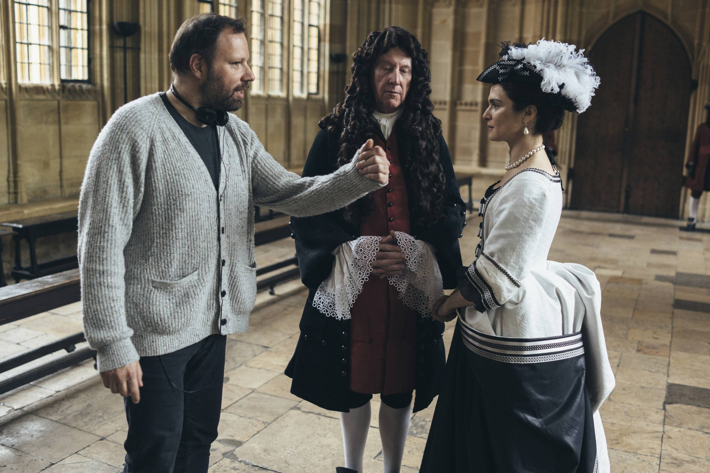 "Yorgos Lanthimos directs James Smith and Rachel Weisz on the set of ""The Favourite."""