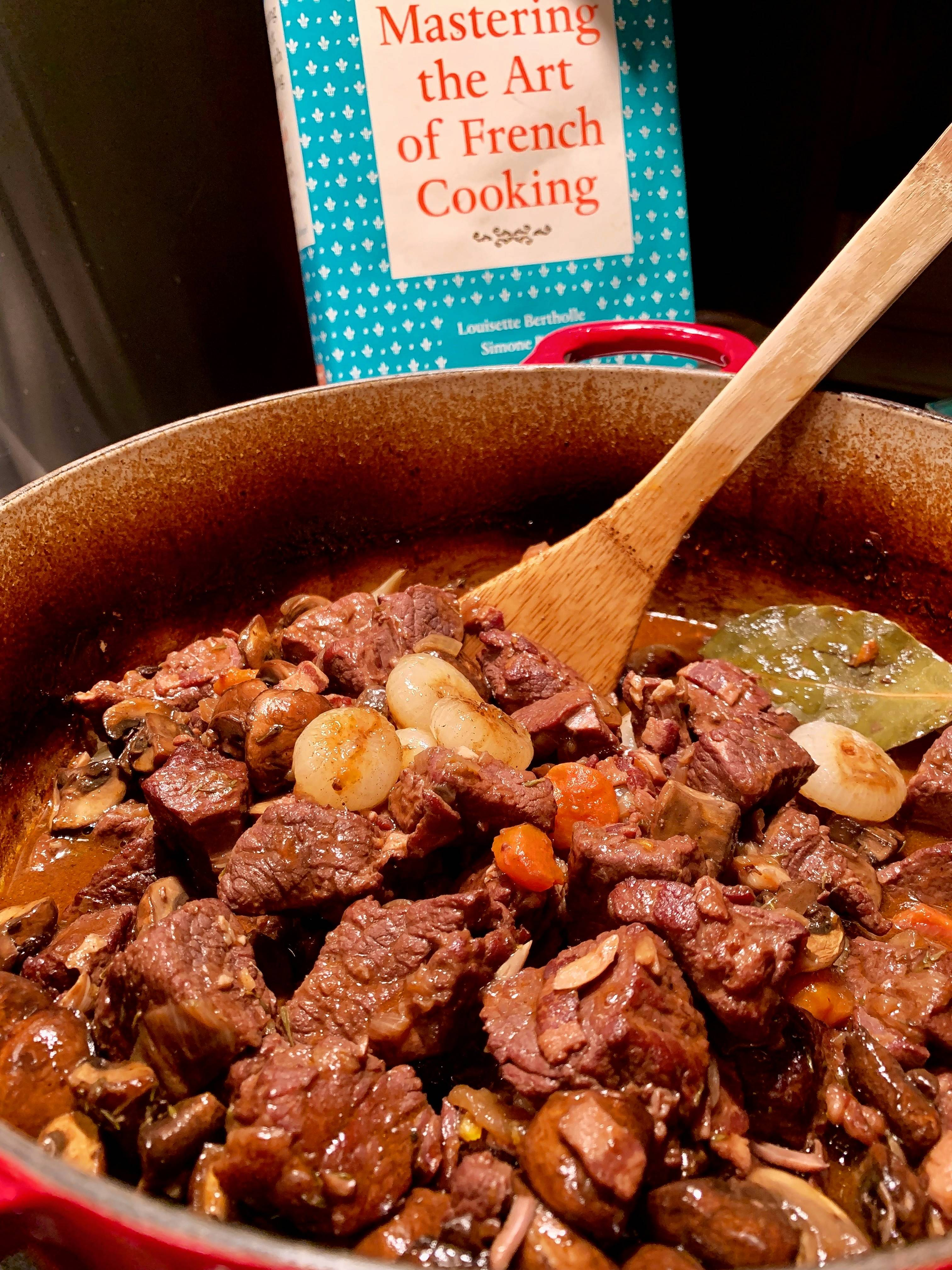 Finished and ready for plating, Julia Child's boeuf bourguinon.
