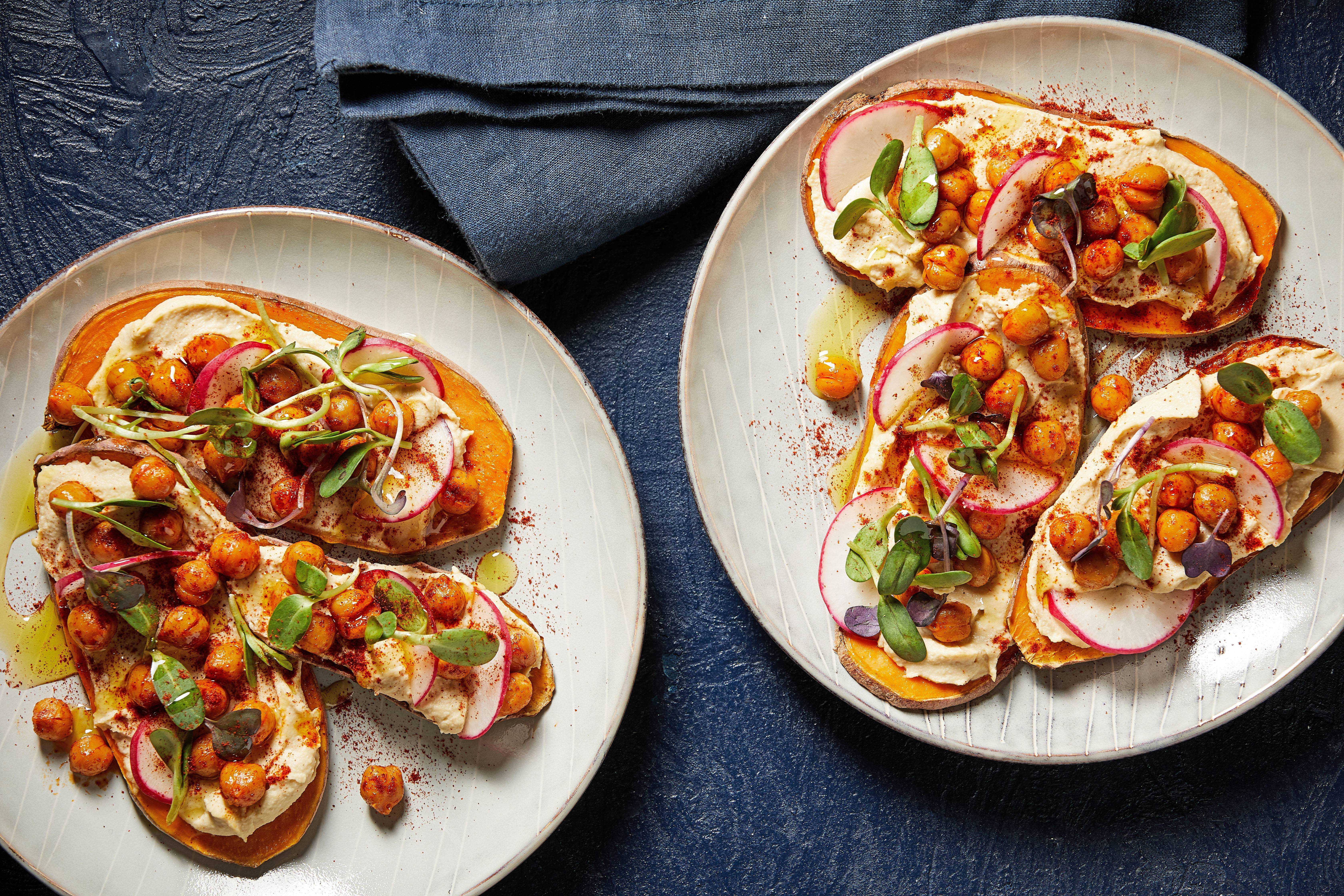 Sweet potato toasts with hummus, radish and sunflower sprouts could be the popular new star for the brunch set.