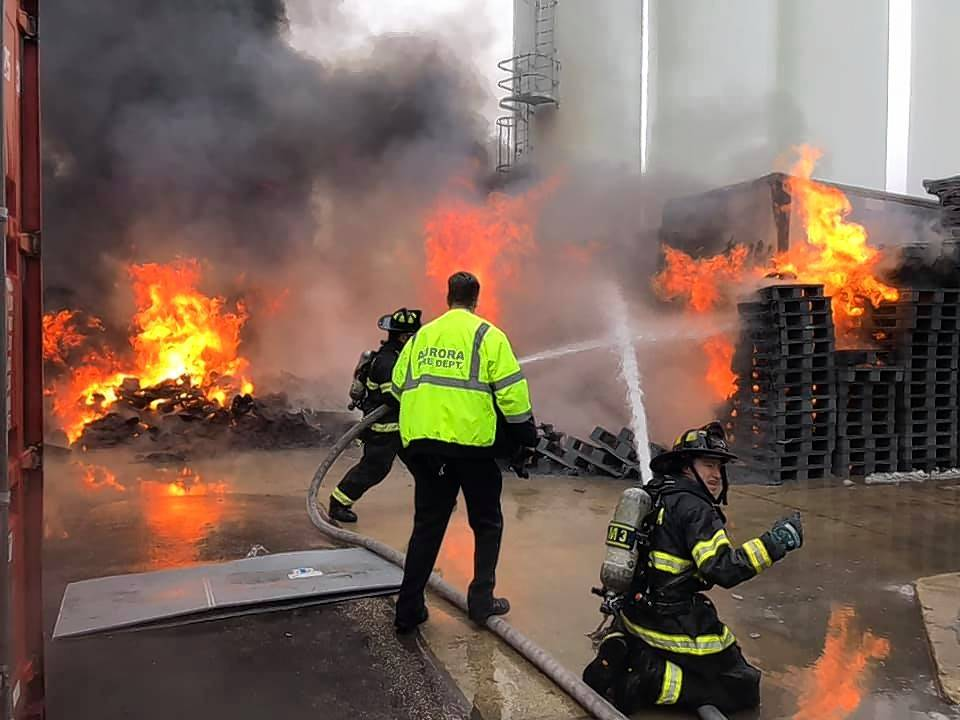 Aurora firefighters battled a blaze Wednesday afternoon at an industrial property in the 800 block of North Russell Avenue.