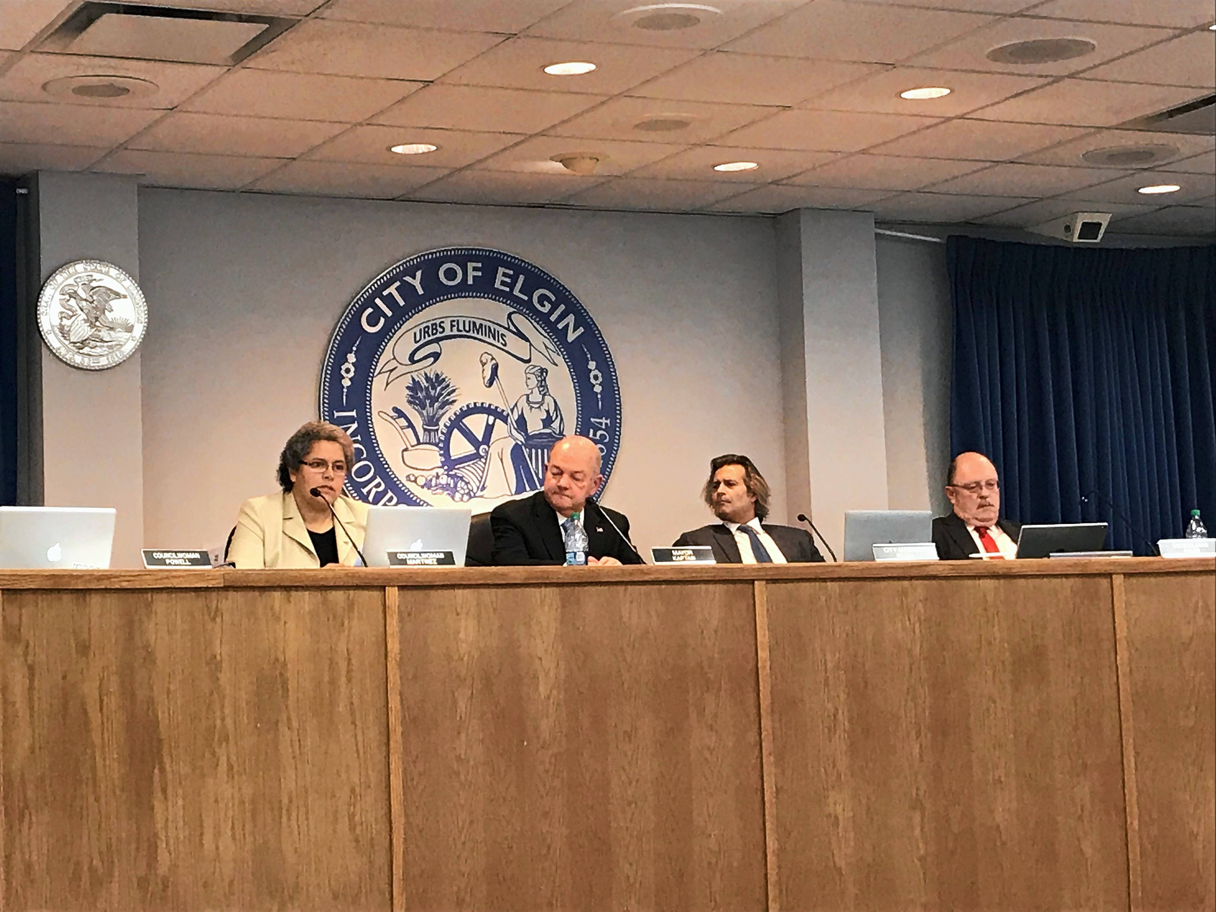 Elgin Mayor David Kaptain, second from left, pictured here in 2017, said he plans to enforce time limits for public speaking at city council meetings in the wake of large crowds that have shown up recently.