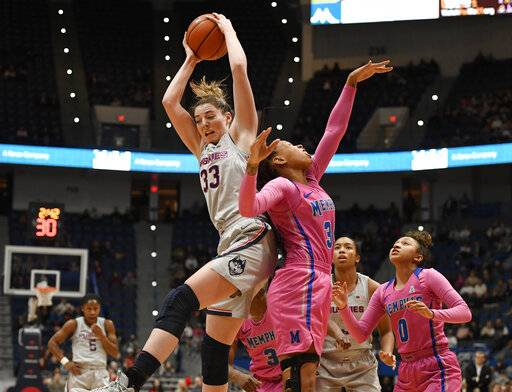 Connecticut's Katie Lou Samuelson, left, grabs a rebound over Memphis' Ashia Jones, right, during the first half of an NCAA college basketball game, Wednesday, Feb. 20, 2019, in Hartford, Conn. (AP Photo/Jessica Hill)