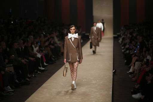 6ade12c10 A model wears a creation as part of the Fendi women's Fall-Winter 2019-