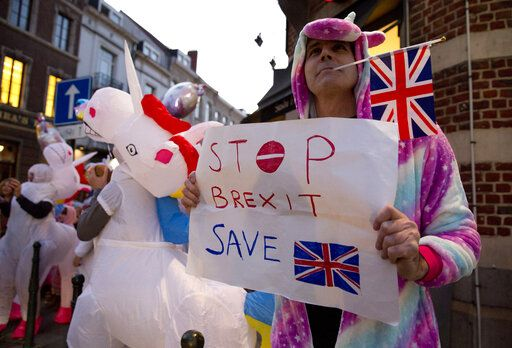 Protestors in costumes demonstrate about the process of Brexit outside EU headquarters in Brussels, Wednesday, Feb. 20, 2019. European Commission President Jean-Claude Juncker and British Prime Minister Theresa May met Wednesday for their latest negotiating session to seek an elusive breakthrough in Brexit negotiations.