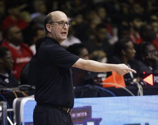 "FILE - In this Sept. 17, 2018, file photo, U.S. basketball coach Jeff Van Gundy speaks from the sidelines of the team's FIBA Basketball World Cup 2019 qualifier game against Panama in Panama City. Van Gundy has an idea on how to fix the NBA All-Star Game. His plan: Eliminate it. Van Gundy, the former NBA coach and now longtime television commentator for ABC and ESPN, said what he's seeing now from the game is embarrassing and ""a bastardization of the game that is beautiful to watch."" The teams picked by captains LeBron James and Giannis Antetokounmpo combined to attempt a record 167 3-pointers in Sunday night's game--and 96 of the 134 field goals in the game came off either 3s or dunks. (AP Photo/Arnulfo Franco, File)"