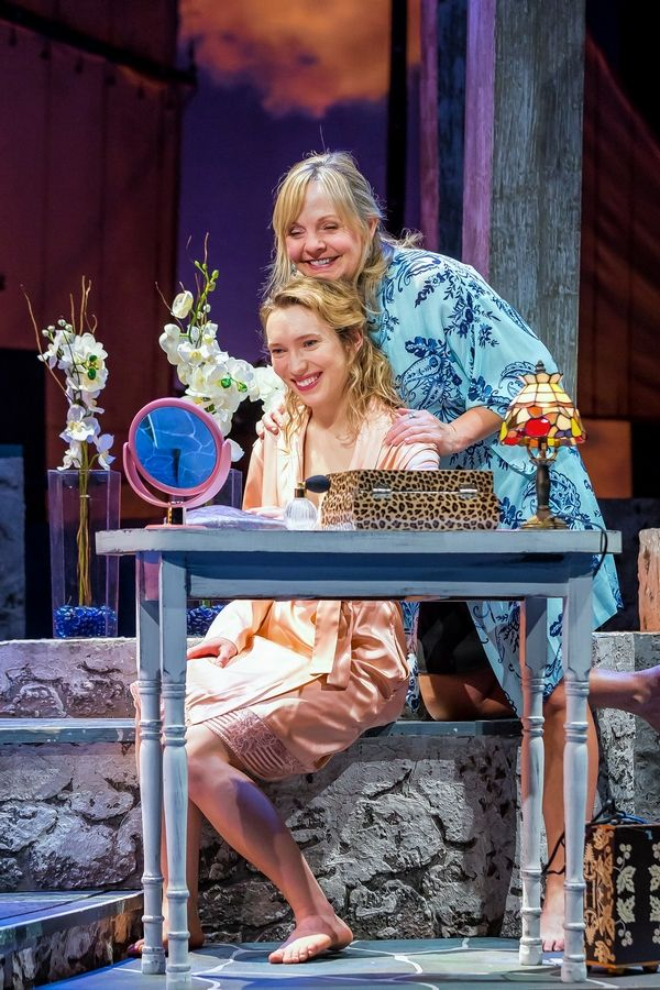 "Sophie Sheridan (Rebecca Hurd) gets ready for her wedding with the help of her mother, Donna Sheridan (Susie McMonagle), in the ABBA jukebox musical ""Mamma Mia!"" at Drury Lane Theatre."
