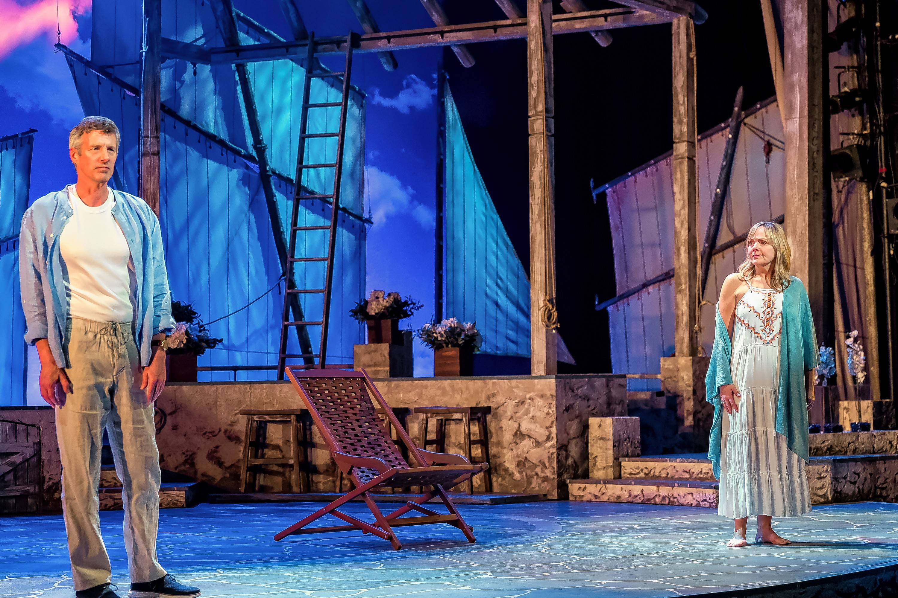 "Sam Carmichael (Jeff Parker) and Donna Sheridan (Susie McMonagle) have an uncomfortable reunion on the eve of her daughter's wedding in the ABBA jukebox musical ""Mamma Mia!"" now playing at Drury Lane Theatre."
